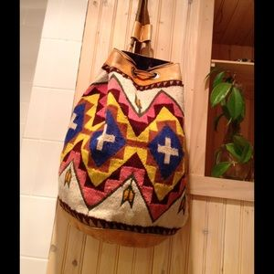Vintage Wool And Leather Bohemian Backpack