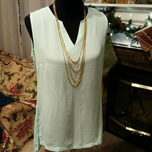 Mint green sleeveless long blouse