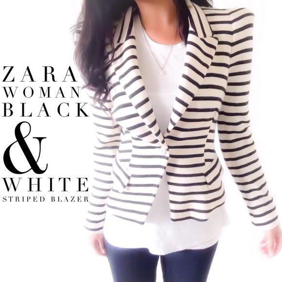 dd311f847199 Zara Woman Black   White Striped Blazer. M 56809fc0bcd4a7169f001f09