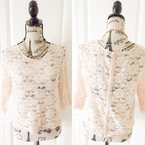 H&M Tops - H&M Light Pink Lace Cropped Top