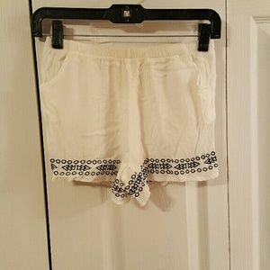 White shorts with black embroidery