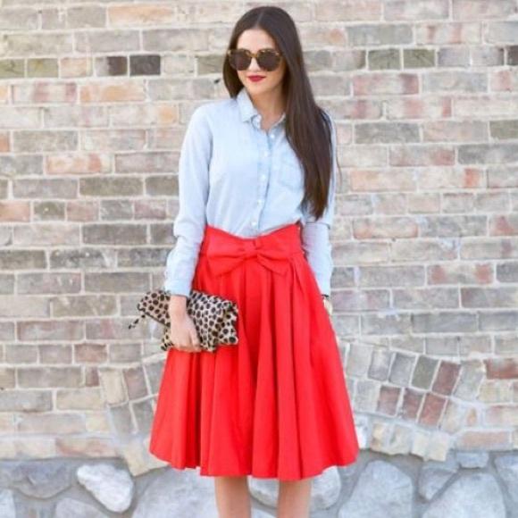 6f5e3959ec Ampersand Avenue Dresses & Skirts - Red Full Midi Skirt w/ Bow
