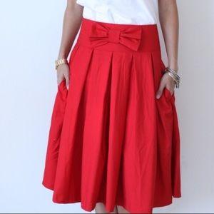 fe84d4c7c0 Ampersand Avenue Skirts | Red Full Midi Skirt W Bow | Poshmark