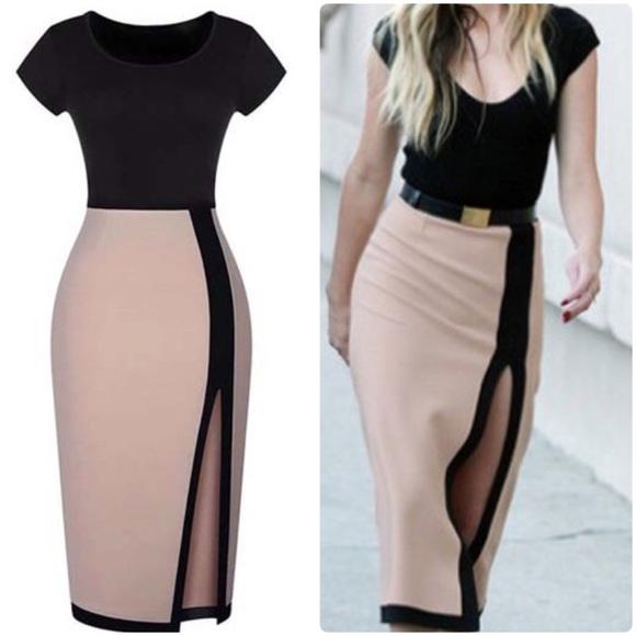 Dresses Black And Apricot Round Neck Pencil Dress Poshmark