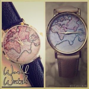 Black World Map Watch