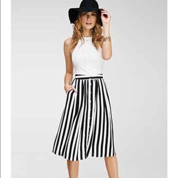 71dd57ab7fde4f Forever 21 Skirts | Contemporary Striped Midi Skirt | Poshmark