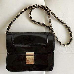 Ivanka Trump black patent small purse clutch bag