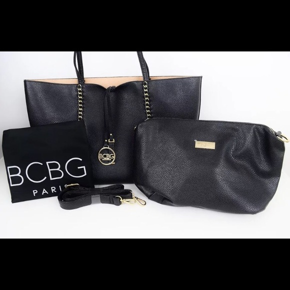 c909fc20a14f BCBG Paris black tan convertible tote bag Boutique