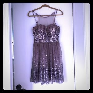 Dresses & Skirts - Taupe sequin cocktail dress