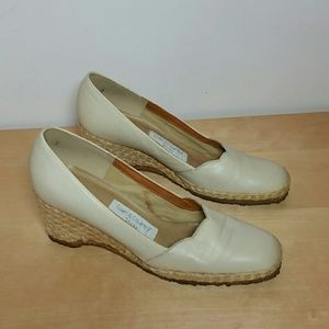 Vintage leather wedge shoes