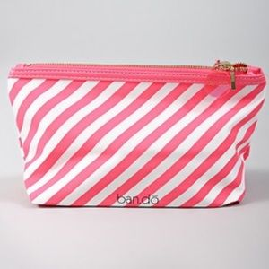 Ban.do pink white stripe makeup bag