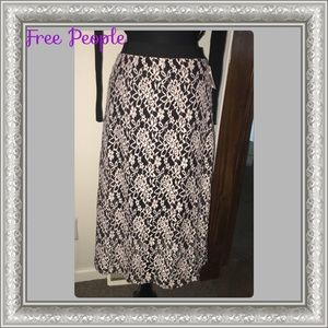 HPFree People Black & White Lace Skirt