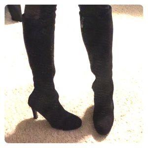 tahari tahari black suede zip up to the knee boots from