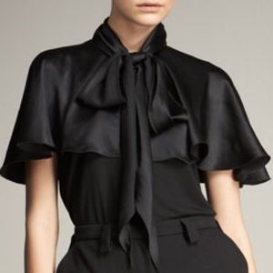 Lanvin Black Satin Cape-Collar Top large/10  NWT