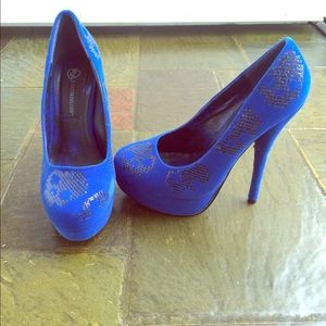 JustFab Blue and Sequined Heels
