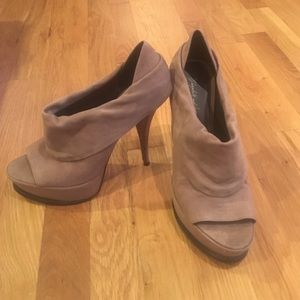 Elizabeth and James nude suede booties