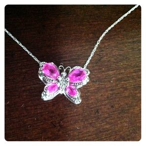 Jewelry - Pink Sapphire Butterfly Necklace.