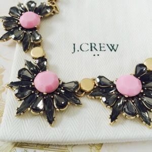 J. Crew Factory Crystal Half Flowers Necklace