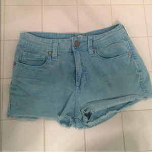 PacSun Pants - Turquoise Corduroy High Waisted Shorts - Roxy