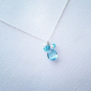 LAST ONE Blue Topaz Briolette Cluster Necklace
