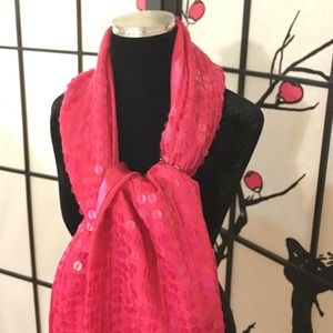 NWT Italian silk and sequined sash in bright pink