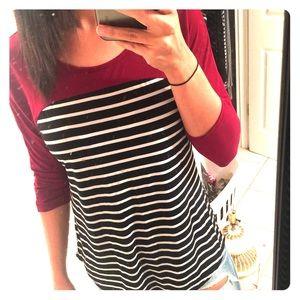 Striped 3/4 sleeve shirt