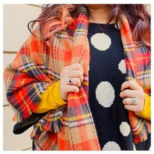 Accessories - Orange & Black Plaid Blanket Scarf