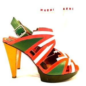 MARNI PANELED LEATHER PLATFORM HEELS