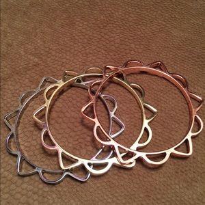 Tri-Gold Geometric Bangles NWOT