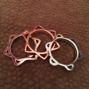 Tri-gold 3 Ring Set by Bimba & Lola NWOT