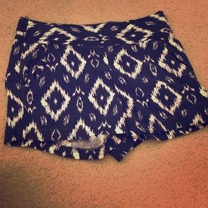 Tribal print high waisted shorts