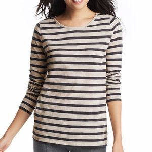 LOFT striped cotton long sleeved tee sz S grey