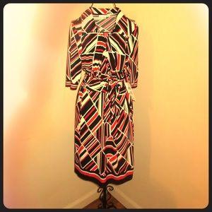 Red & black geometric printed wrap dress with tie
