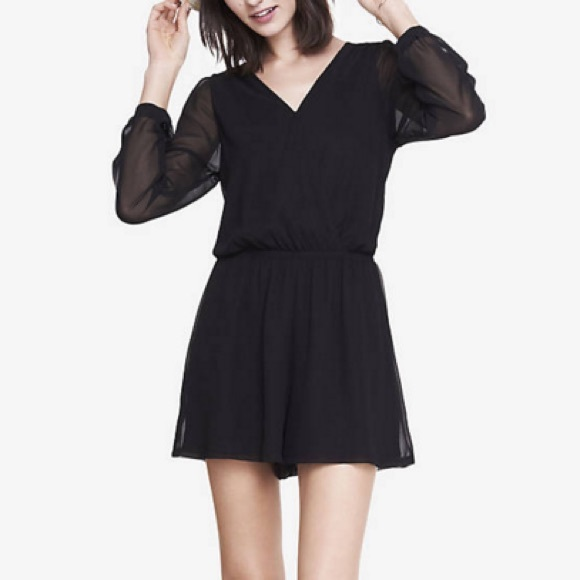165780f47a1d4 Express Dresses | Black Long Sleeve Romper | Poshmark