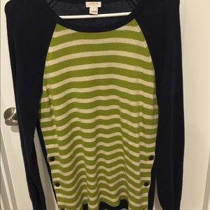 J Crew Factory side-button elbow patch sweater