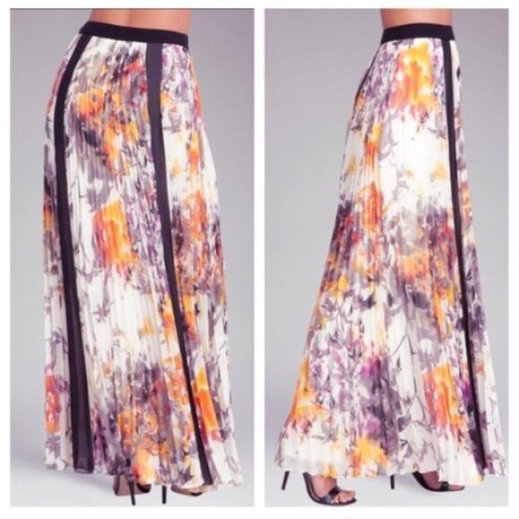 48% off bebe Dresses & Skirts - BEBE MULTI COLOR PLEATED FLORAL ...