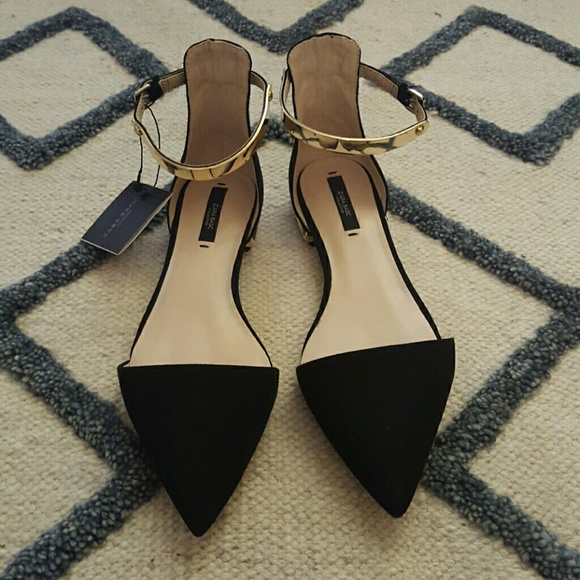 4b0253a8860 Zara Suede D orsay Flats with Gold Ankle Strap