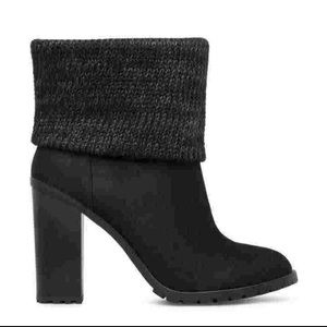 Black Knit Cuff Booties