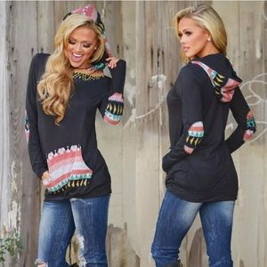 Only Medium Left! A 5Aztec Tribal Hoodie! NEW!