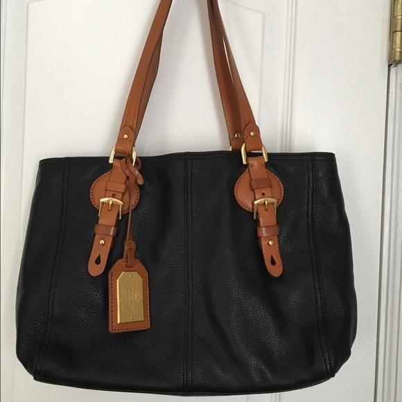 ea3b69adb4a3 RALPH LAUREN black and brown leather handbag. M 5682b8174e95a31e9e0024fd