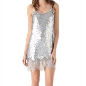 Parker Sequin Party Dress with beaded fringe