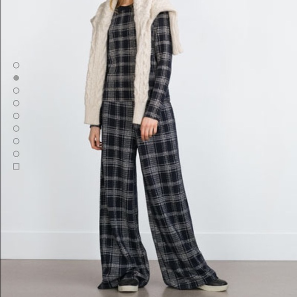 43% off Zara Pants - Zara Cotton Plaid Wide Leg Trousers from ...