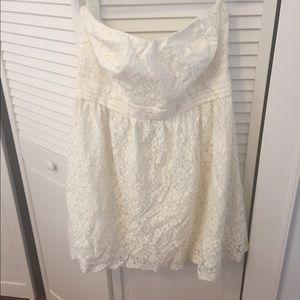 Cream white lace strapless dress plus size