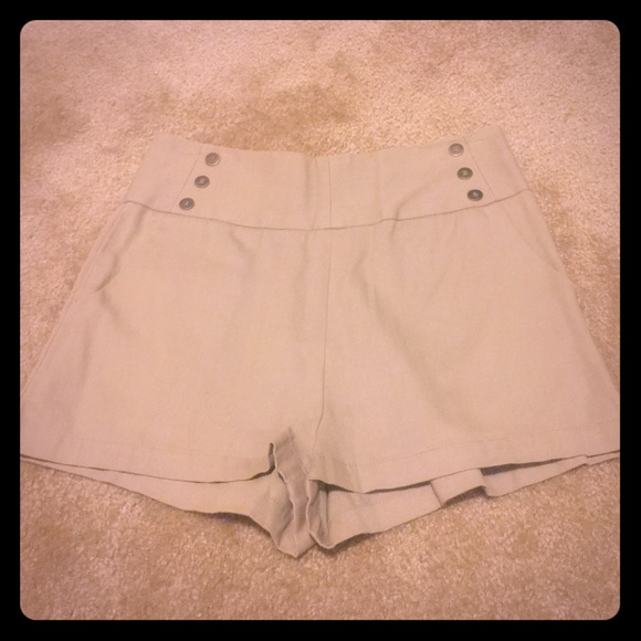 92% off Urban Outfitters Pants - NWOT! Tan high waisted shorts ...