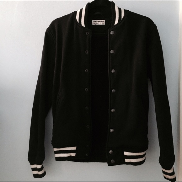 22e376434 American apparel varsity bomber jacket black