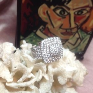 Jewelry - 💕 White Sapphire Platinum Sterling Silver Ring 💕