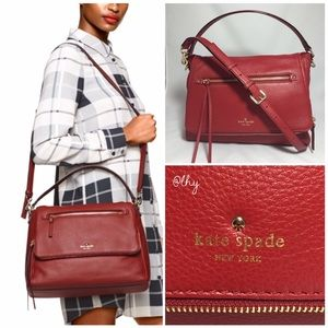 KATE SPADE COBBLE HILL TODDY BAG - RED