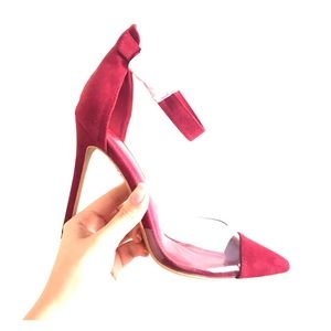Shoes - Clear red cap heels