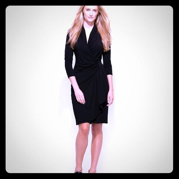Karen Kane Dresses Black Cascade Wrap Dress Poshmark