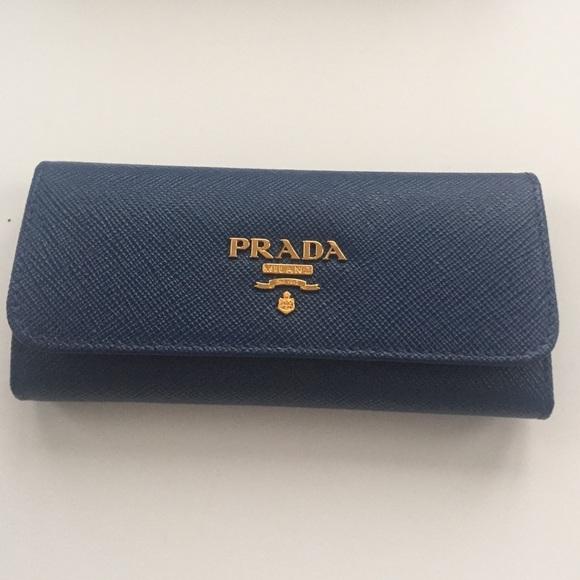 1b92c225ab0d6c Prada Accessories | Saffiano Metal Key Holder Wallet In Bluette ...